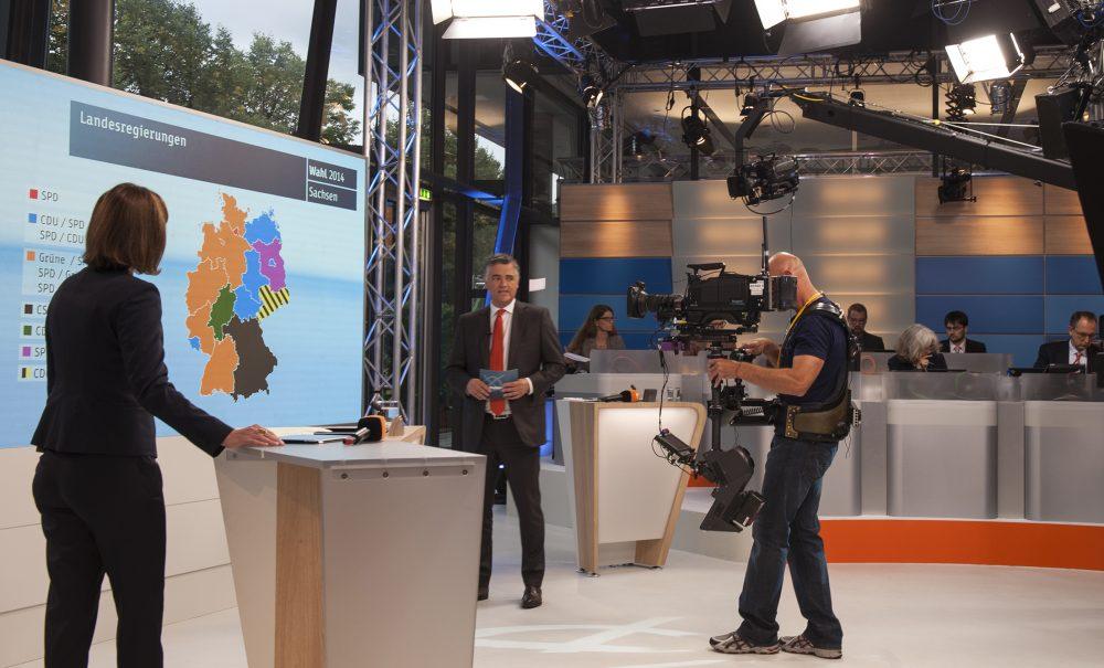ZDF Studio Innenaufnahme Anzeige Wahlergebnisse
