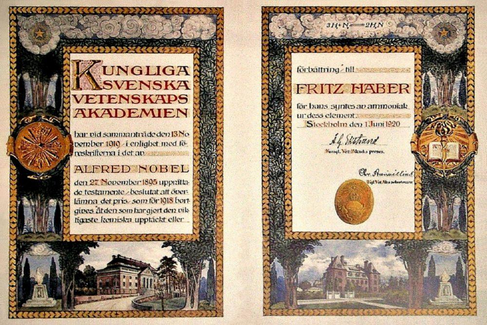 Nobelpreisurkunde Fritz Haber