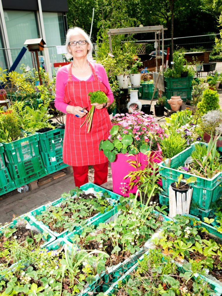 Frau in Mitten vieler grüner Pflanzen