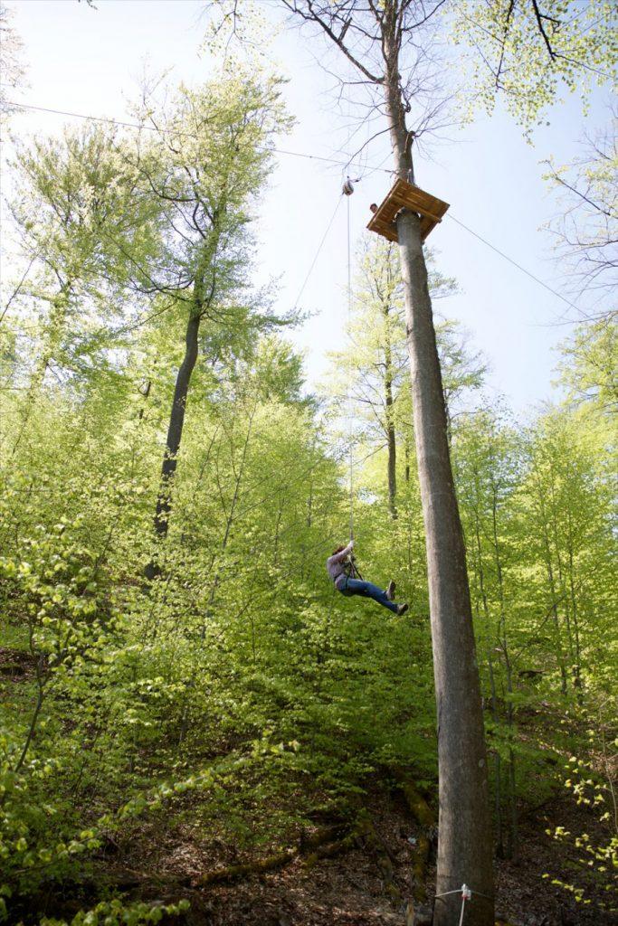Kletterturm Hochseilgarten, es seilt sich jemand ab