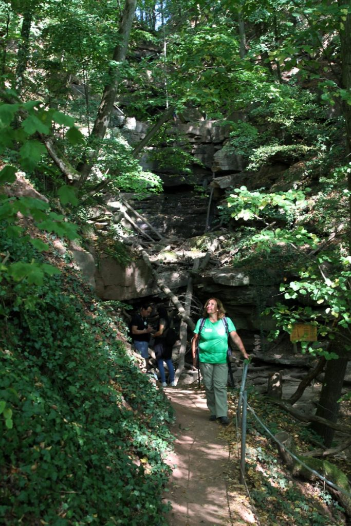Weg durch Wald und Steinbergen